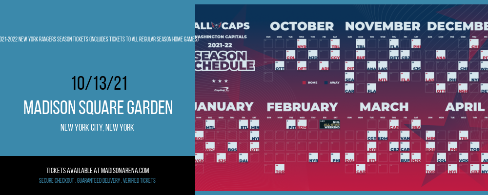 2021-2022 New York Rangers Season Tickets (Includes Tickets To All Regular Season Home Games) at Madison Square Garden